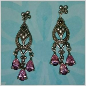 Sterling Silver Marcasite/Pink Sapphire Earrings